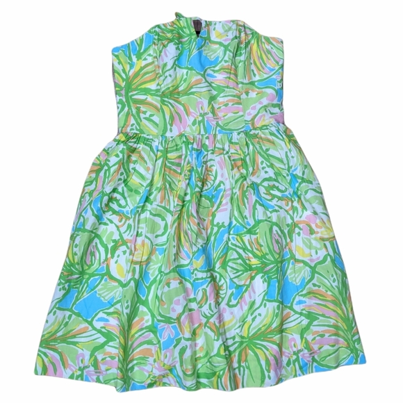 LILY PULITZER Green Strapless Fit & Flare Dress 4